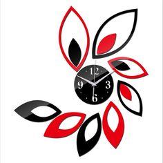 2016 New Sale Room Big Flower Watch Modern Design Luxury 3d Mirror Wall Clock Guartz Needle Orologi Da Parete Free Shipping