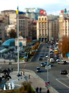 Kyiv, Kiev, Ukraine, Maidan, the central Kiev square. Tilt Shift Photography, Love Photography, Street Photography, World Cities, Countries Of The World, Tilt Shift Photos, Tilt Shift Lens, It's All About Perspective, Camera Movements