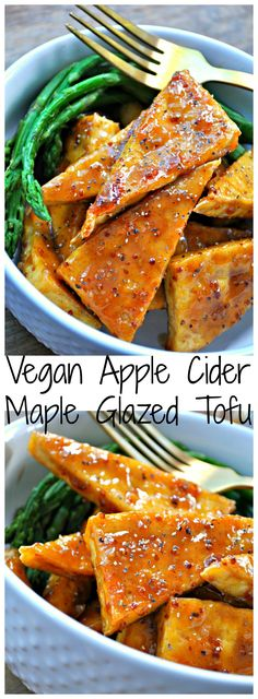 Baked crispy tofu, brushed with a glaze of apple cider and maple syrup. This vegan glazed tofu is perfect for the holidays, or anytime really!