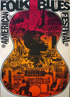 Poster artist Gunther Kieser. 1964 European tour for German television by Howlin' Wolf & other musicians.