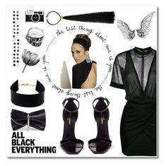 """jlo black"" by aniadratwicka on Polyvore featuring Balmain, Yves Saint Laurent, Vivienne Westwood, PAM, Jimmy Choo, Amrita Singh and allblackoutfit"