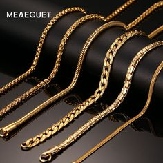 Meaeguet Gold-color Stainless Steel Chain Necklace For Men Women Snake/Box/Hanging/Curb/Flat/Twist Chain Wide Price history. Product ID: Silver Chain For Men, Gold Chains For Men, Clover Necklace, Men Necklace, Mens Gold Chain Necklace, Mens Gold Jewelry, Silver Jewelry, Silver Ring, Gold Chain Design