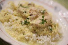 Frango de Fricassé - A receita original é com salsa, mas, como gosto mais de coentros! http://grafe-e-faca.com/pt/receitas/carne/frango-de-fricasse/