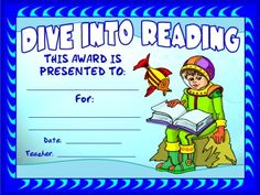 "FREE DOWNLOAD:  ""Dive Into Reading Award Certificate.""  Use this free award certificate to recognize your students' for the number of books they have read, achievement in reading, or improvement in reading.  Download this free reading award certificate on Unique Teaching Resources:  http://www.uniqueteachingresources.com/book-reports.html   (FREE!)"
