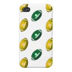 Dark Green and Gold Football Pattern iPhone 4/4S Covers