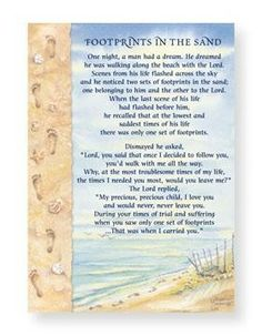 Satisfactory image intended for footprints in the sand poem printable