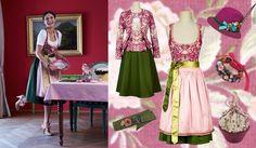 Dirndl rosa/grün - Amsel Fashion Tracht.