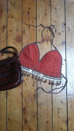 Crochet bralet bralette boho festival clothing folk clothes summer fashion feminine burnt orange earthy muted tones Dolly Topsy Etsy UK  Hand