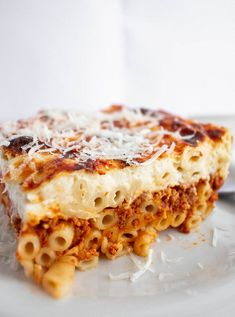 The best, easiest recipe for making Greek Pastitsio (Baked pasta with meat sauce and cream). With picture tutorial, and my cheat sheet, to make cream. Pasta With Meat Sauce, Beef Sauce, Greek Pastitsio, Greek Lasagna, Good Food, Yummy Food, Delicious Dishes, Greek Cooking, Greek Dishes