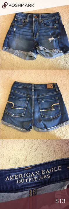 American eagle denim shorts American eagle basic denim shorts with some holes. They're a size 2. Worn a bunch of times but they look fine. Size 2 super stretch American Eagle Outfitters Shorts Jean Shorts