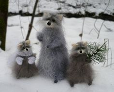 Two grey fluffy little Raccoon with Christmas Tree by OlgaMareeva