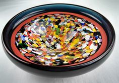 Beautiful art glass large bowl by Ladislav Dostal