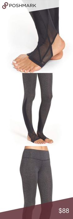 """Free People Vortex Stirrup Legging Crafted from double-brushed heathered jersey, these leggings feature a so-soft fabric with heat-trapping technology. Moisture-wicking finish works to keep you dry during your toughest workouts. Stirrup hem features Power Mesh trims for a tight-to-the body fit. Contrast panels make for a sleek look. Measurements for size Large Waist: 24.5 """" Hips: 28 """" Rise: 8.5 """" Inseam: 28.5 """" Free People Pants Leggings Stirrup Leggings, Sleek Look, Sport Wear, Fashion Design, Fashion Tips, Fashion Trends, Soft Fabrics, Black And Grey, Free People"""