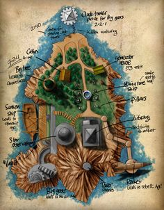 """Island by Jonas Eklundh (SandmanNet, Sweden) """"A map of the main Myst Island from the Myst game. This is part of my online Myst book. It is made solely in Photoshop using a Wacom Cintiq, so it is hand drawn, although digitally. Fantasy Map, Medieval Fantasy, Fantasy World, Island Map, Adventure Games, Map Design, Book Projects, Fantasy Landscape, Plans"""