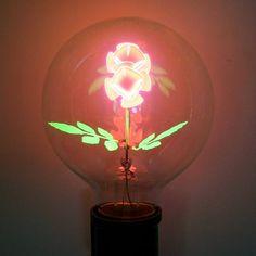"3 watt - 120 volt - G25 - Medium Screw (E26) Base - ""Long Stem"" Flower | Damar Designer Filament Light Bulb"