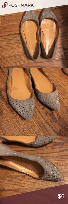 cbc86fc7e7f Jcrew grey suede flats Super comfortable suede flats Grey with studs Good  used condition Leather interior