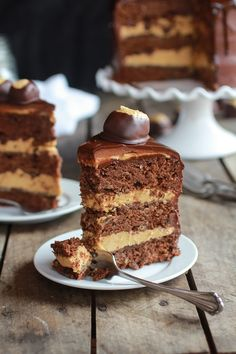 Ultimate Triple Layer Chocolate Bourbon Peanut Butter Buckeye Cake | halfbakedharvest.com @Heather Flores Baked Harvest
