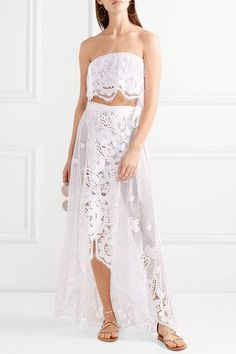 Miguelina - Valencia Crocheted Cotton-lace Wrap Maxi Skirt - White - medium
