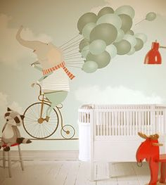 little hands: Little Hands Wallpaper Mural - Elephant riding a bicycle