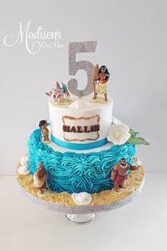 Moana themed 5th birthday cake in buttercream.