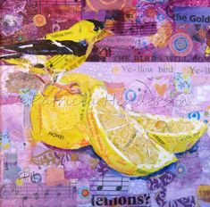 Lemon Yellow - Goldfinch- Bird # 71 of 100 Painted Paper, Hand Painted, Lemon Painting, Paper Collage Art, Goldfinch, Lemon Yellow, Photo Canvas, Art Sketchbook, Artwork