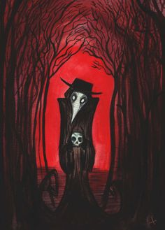 Black Plague Doctor Archival Print in 4 by 6 Black Frame