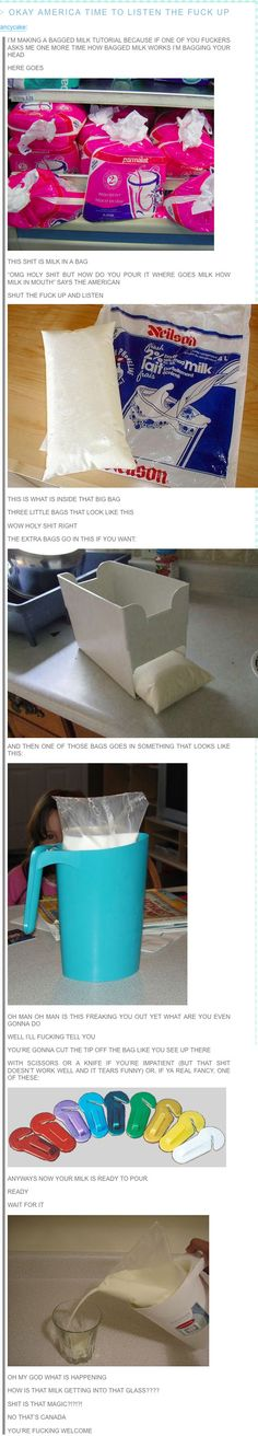 A Canadian helpfully describes milk in a bag to Americans.