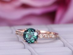 Round Alexandrite Engagement Ring Pave Diamond 14K Rose Gold 6.5mm
