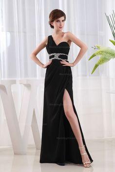 One Shoulder Beaded Empire Waist Floor-Length Party Dress With Splits On Skirt