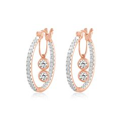 1.50 Ct Round Diamond Inside Out Hoop Earrings With Dangle 14k Rose Gold Women #CaratsForYou #Hoop
