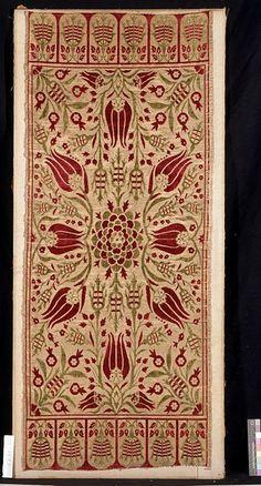 early 18th century silk satin #ottoman yastik ( #turkish cushion cover) • tulip design