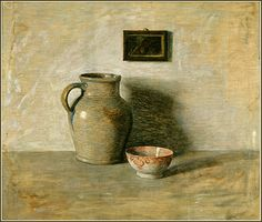 """Still Life with Pitcher, Bowl, and Framed Picture"" (date not known) by N. C. Wyeth by Plum leaves, via Flickr"