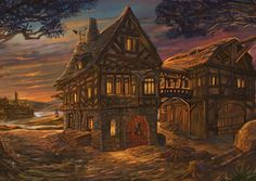 Listen online to the sound mix called: Taking in a medieval tavern's ambience by the fireside. Fantasy Inn, Dark Fantasy, Fantasy Places, Fantasy World, Medieval Village, Medieval World, Medieval Fantasy, City Landscape, Fantasy Landscape