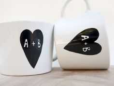 Personalized Couple's Gift Idea. These handpainted Coffee Mugs make cute Valentine's Gift for boyfriend and girlfriend <3