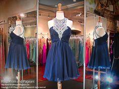 Navy Chiffon Short Homecoming Dress