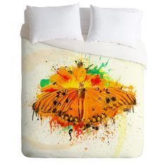 Msimioni Orange Butterfly Duvet Cover #butterfly #bedding #bedroom
