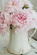 Pink peonies, always lovely in a vintage, shabby chic interior