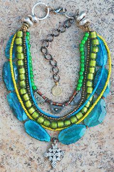 Pretty!!!!!  Blue, Green, Yellow Mixed Media Ethiopian Cross Multi-Strand Necklace
