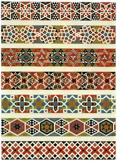 Mosaic border designs from a Sicilian church, produced in the century. Border Pattern, Border Design, Pattern Art, Pattern Design, Textile Prints, Textile Patterns, Textile Design, Print Patterns, Textiles