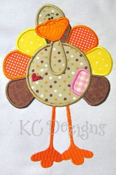 Primsy Turkey 01 Machine Embroidery Applique Design  by KCDezigns $3.50