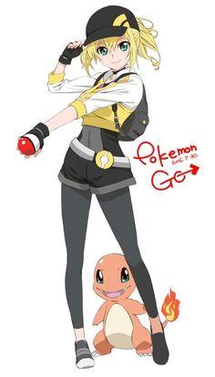 ♥ Girl... Female Protagonist... Pokeball... Blonde Hair... Pokémon... Pokémon GO!... Anime ♥