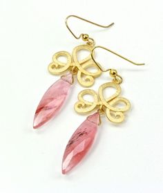 Rutilated Quartz and 14K Gold-Plated Brass Earrings | adora_by_simona - Jewelry on ArtFire