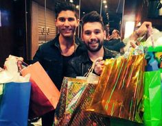 Dan+Shay showing off gifts from the opening night og the WIABTour in Knoxville TN 2/28/2015
