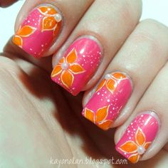 """""""Third manicure for the Nail Challenge Collaborative's month of untrieds. The base here is Kiko 311, a vibrant pink shimmer. The rest is acrylic paints.…"""""""