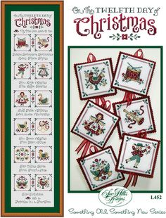 Sue Hillis On The Twelfth Day Of Christmas - Cross Stitch Pattern. Cover models (both framed piece and the ornaments) were stitched on 28 count Antique White ev