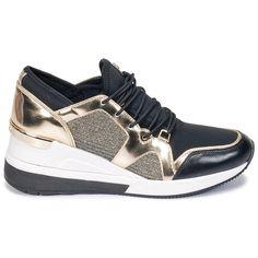MICHAEL Michael Kors SCOUT TRAINER Noir / Doré Basket Michael Kors, Cheap Michael Kors, Michael Kors Shoes, Handbags Michael Kors, Baskets, Stiletto Shoes, Basket 2017, Trainers, High Top Sneakers