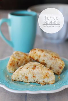 Toffee Scones Recipe: Sweet, crunchy toffee is delicious in these soft scones!