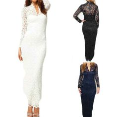 Women Sexy Long Sleeve Scallop Neck Lace Maxi Dress Evening Cocktail Prom Party