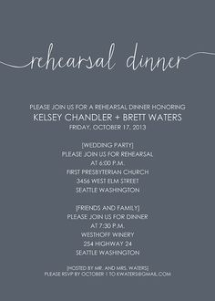 Love the directions for wedding party and friends/family Scribble Handwriting Rehearsal Dinner by SimplySmittenDesigns