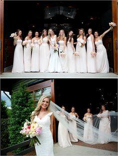 pink bridesmaid dresses #bridesmaids #pink #weddingchicks http://www.weddingchicks.com/2014/02/27/sophisticated-stable-wedding/